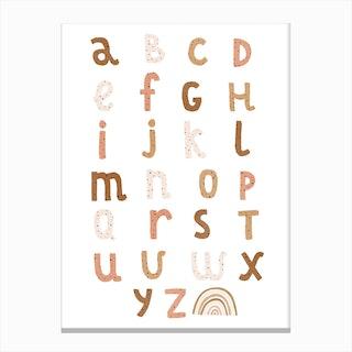 Alphabet Chart With Rainbow  Burnt Umber Canvas Print