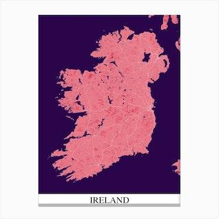 Ireland Pink Purple Map Canvas Print