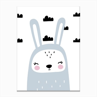 Scandi Grey Bunny With Clouds Canvas Print