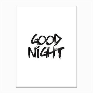 Good Night (White) Canvas Print