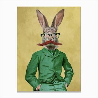Rabbit With Moustache Canvas Print