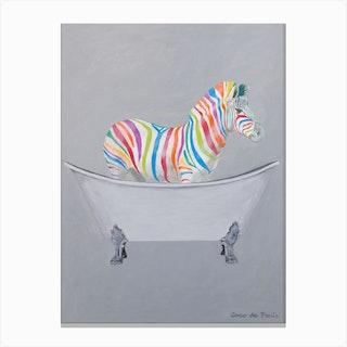 Rainbow Zebra In Bathtub Canvas Print