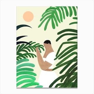 Prayer In Green Canvas Print