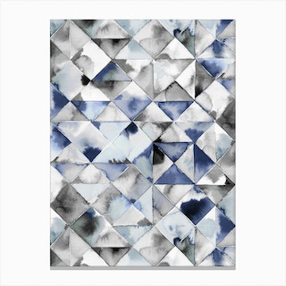 Moody Triangles Cold Blue Canvas Print
