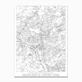 Newcastle Upon Tyne Map Minimal Canvas Print