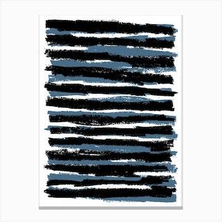 Blue And Black Stripes Canvas Print