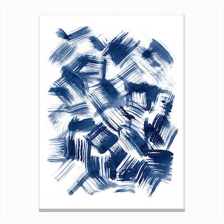 Blue Brush Strokes Canvas Print
