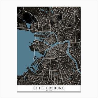 St Petersburg Black Blue Canvas Print