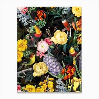 Night Vintage Spring Flower Bird Garden Canvas Print