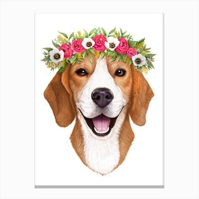 Beagle With Flowers Canvas Print