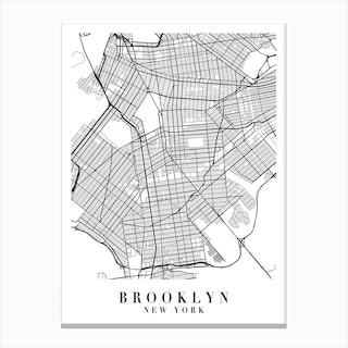 Brooklyn New York Street Map Minimal Canvas Print