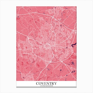 Coventry Pink Purple Map Canvas Print