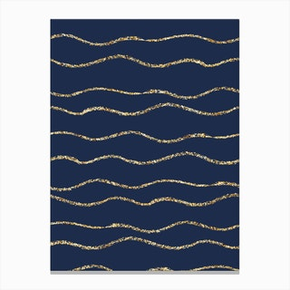 Royal Blue With Gold Wave Lines Canvas Print