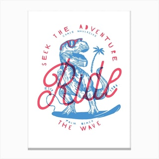 Surfing T Rex Canvas Print