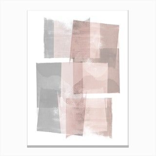 Pink Grey Blocks Canvas Print