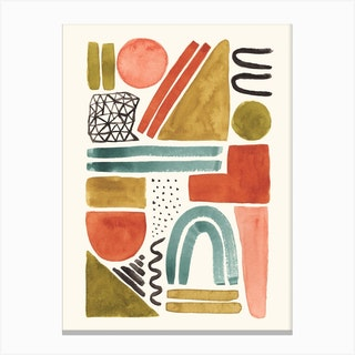 Abstract Watercolor Shapes Canvas Print