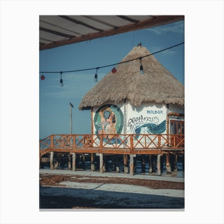 Street Art Ocean Pavilion On Isla Holbox Mexico  Canvas Print