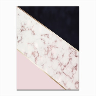 Mixed Baby Pink Gold Marble And Dark Blue Abstract With Gold Trim Canvas Print