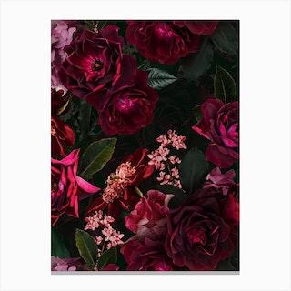 Vintage Midnight Summer Botanical Roses Garden Canvas Print