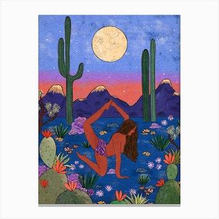 Desert Yoga Canvas Print