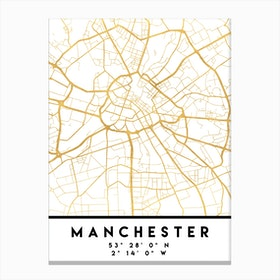 Manchester England City Street Map Canvas Print