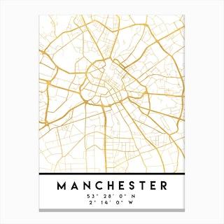 Manchester England City Street Map Canvas Print