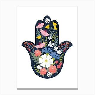 Floral Hamsa 2 Canvas Print