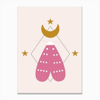 Pink Butterfly And Golden Moon Canvas Print