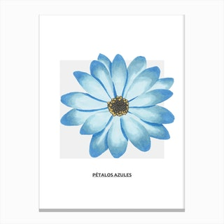 Blue Flower & Grey Box Canvas Print