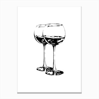 Black Wine Glasses Canvas Print