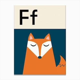 F For Fox Canvas Print