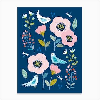 Indigo Birds Canvas Print