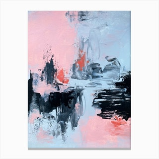 Pink And Grey Abstract 2 Canvas Print