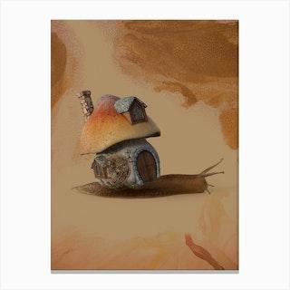Snail Home Sweet House Canvas Print