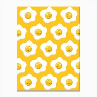 Yellow Smiley Eggs Canvas Print