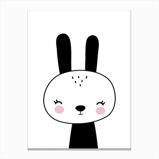 Scandi Black Bunny Canvas Print