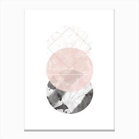 Three Pink & Black Marble Circles Canvas Print