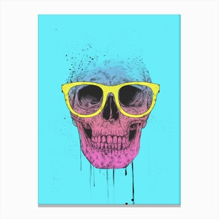 Pop Art Skull With Glasses Canvas Print