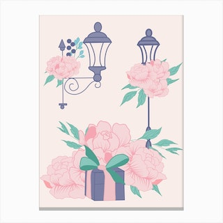 Street Lamps And Peonies Canvas Print