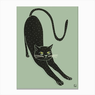 Black Cat On Green Background Canvas Print
