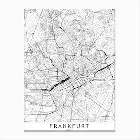 Frankfurt White Map Canvas Print