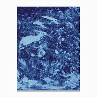 Wood Scratch Blue Canvas Print