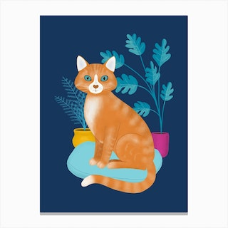 Ginger Tabby Cat With Plants Canvas Print