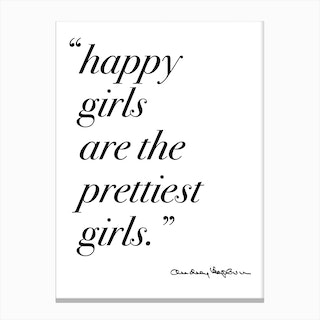 Happy Girls Quote By Audrey Canvas Print