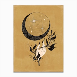 Wicked Hand With The Moon Canvas Print