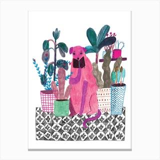 Pink Dog Canvas Print