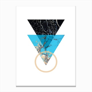 Blue Sand and Marble Triangles Geometric Canvas Print