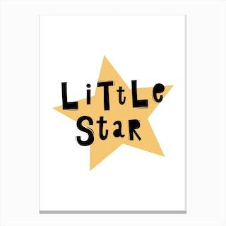 Scandi Little Star Yellow Canvas Print