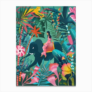 Elephant Jungle Ride Canvas Print