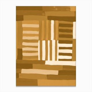 Painted Color Block Grid In Mustard Canvas Print